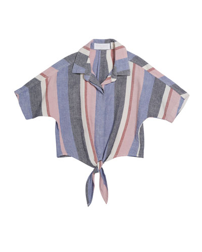 Multi-Stripe Tie-Front Shirt, Size 8-14