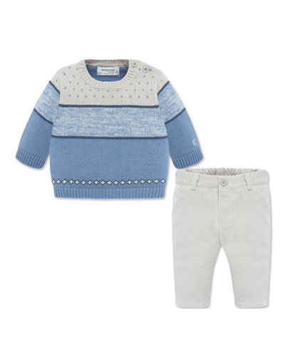 Boy's Colorblock Knit Sweater w/ Solid Pants, Size 4-18 Months