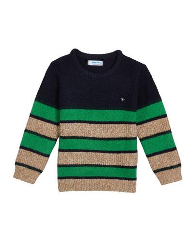 Boy's Colorblock Stripe Knit Sweater, Size 4-8