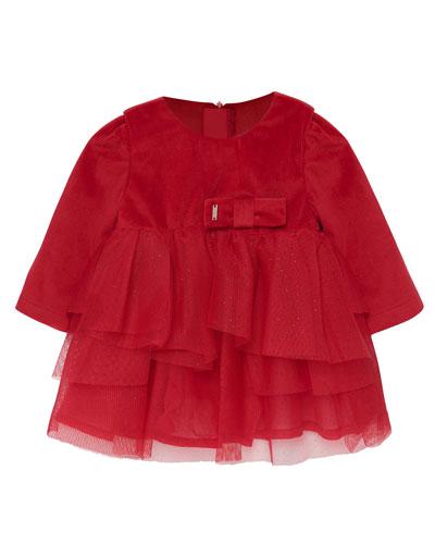 Girl's Tulle & Velvet Long-Sleeve Dress, Size 6-36 Months