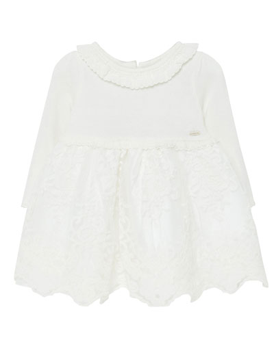 Girl's Long-Sleeve Tulle Embroidered Dress, Size 6-36 Months