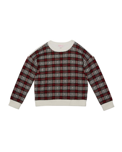 Girl's Multicolor Plaid Contrast Sweater, Size S-XL