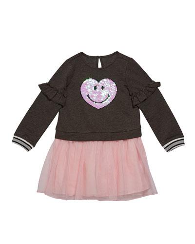 Girl's Sequin Smiley Sweatshirt Dress w/ Tulle Skirt, Size 2-6X