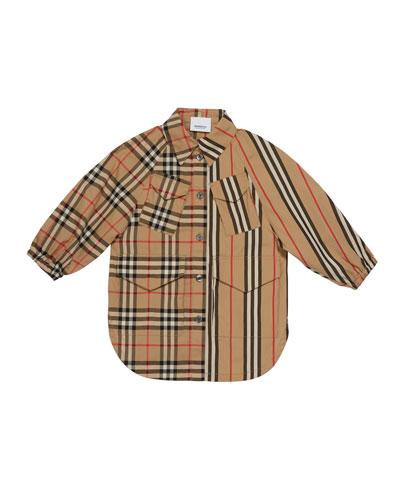 Girl's Mini Teigan Check & Icon Stripe Dress, Size 3-14