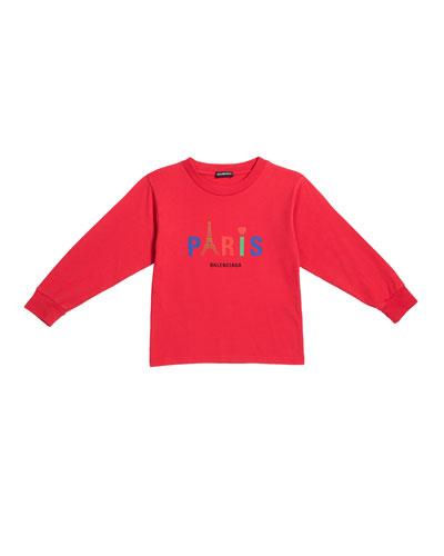 Kid's Paris Multicolor Icon Logo Sweatshirt, Size 2-10