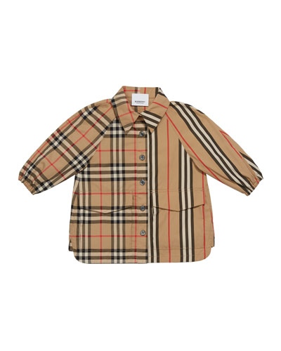 Girl's Mini Teigan Check & Icon Stripe Dress, Size 6M-2