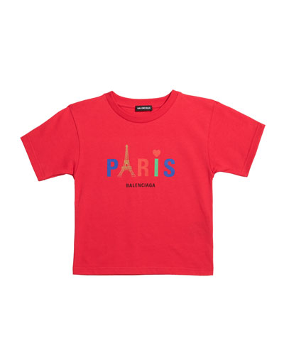 Kid's Paris Multicolor Icon Logo Short-Sleeve T-Shirt, Size 2-10
