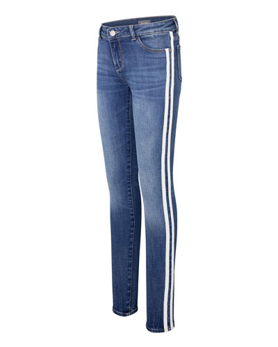 Chloe Denim Skinny Jeans w/ Side Striping, Size 2-6