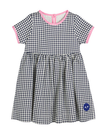 Houndstooth Contrast-Trim Short-Sleeve Dress, Size 0m-10