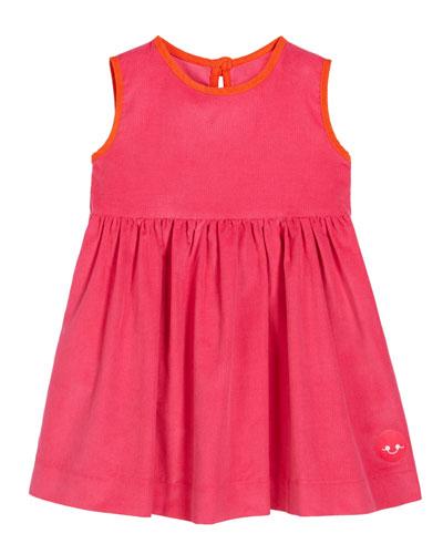 Corduroy Contrast-Trim Sleeveless Dress, Size 0m-10