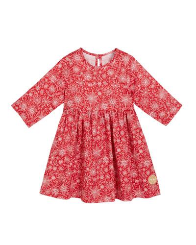 Snow Day Print 3/4-Sleeve Dress, Size 18m-10