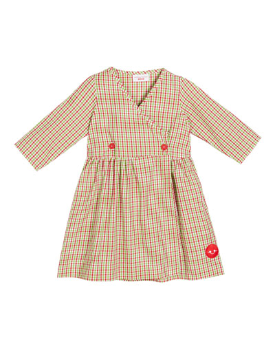 Holiday Check Print V-Neck Dress, Size 18m-10