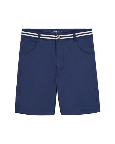 Mock Belted Twill Shorts, Size 8-14