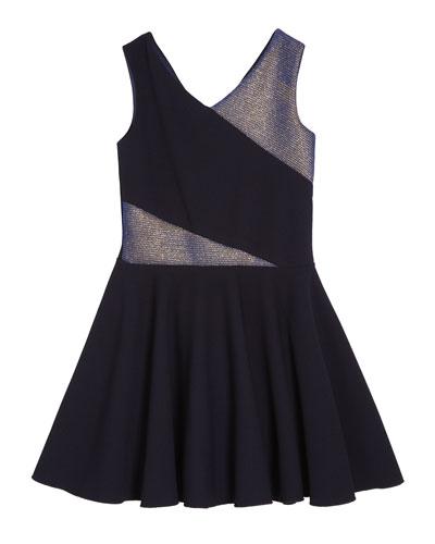 Metallic Accent V-Neck Dress, Size 7-16