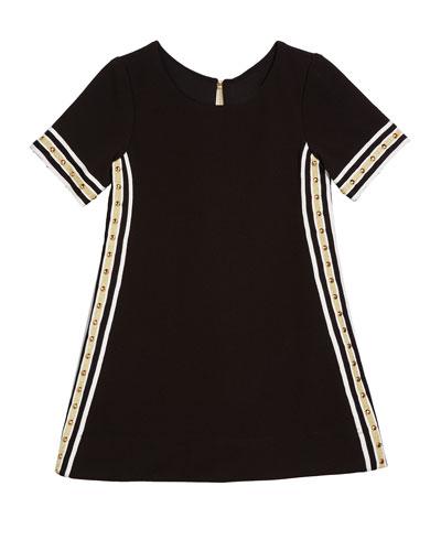 Metallic Racer Stripe Trim Dress, Size 7-16