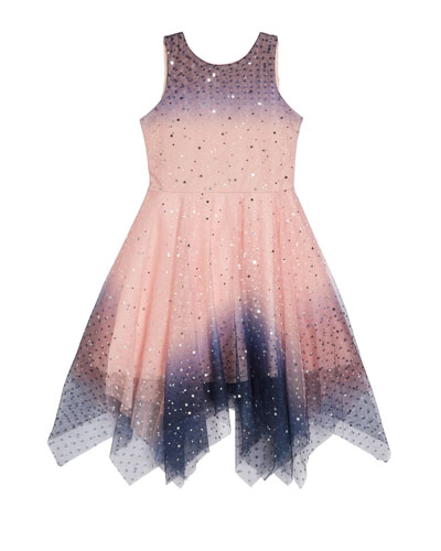 Girl's Odette Ombre Tulle Scattered Star Dress, Size 4-6X