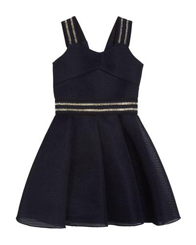 Hey Girl Swing Dress w/ Metallic Stripe Accents, Size 7-16