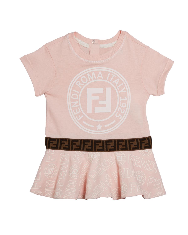 Fendi Dresses GIRL'S LOGO PRINT SHORT-SLEEVE DRESS