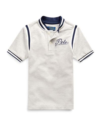 Mesh Knit Striped-Trim Shirt w/ Logo Embroidery, Size 2-4