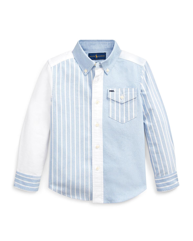 Ralph Lauren Childrenswear Patchwork Oxford Button-down Collar Shirt In Blue