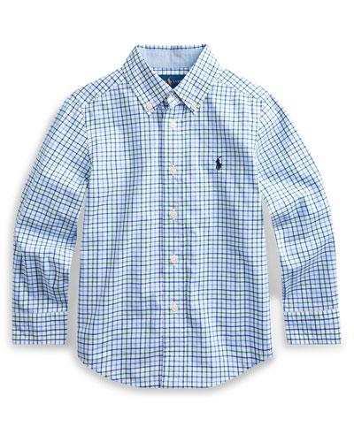 Plaid Natural Stretch Poplin Sport Shirt, Size 5-7