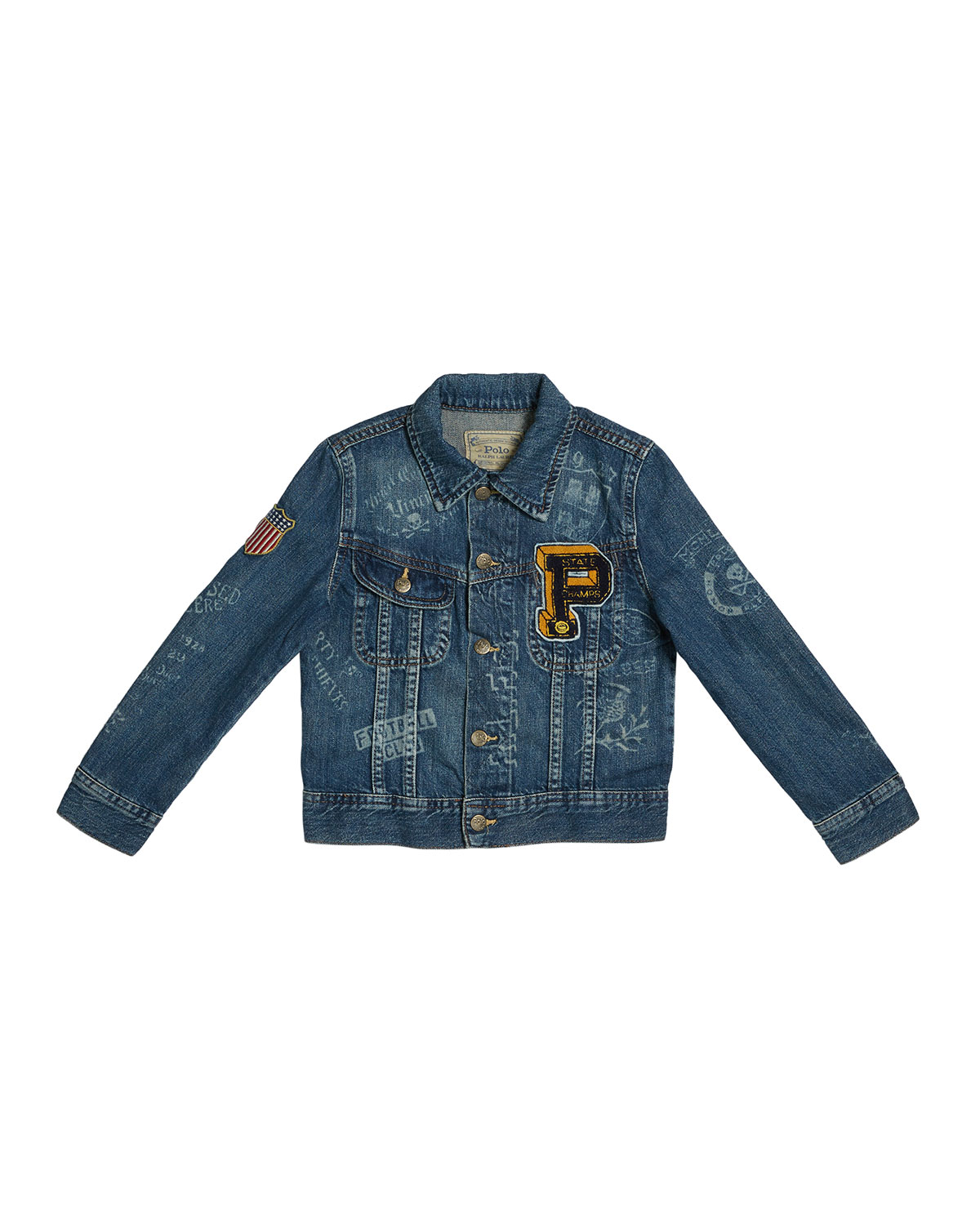 Ralph Lauren Childrenswear Kids' Logo Embroidered Denim Jacket In Blue