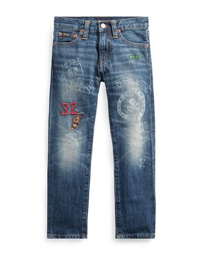 Sullivan Athletic Icons Printed Denim Jeans, Size 5-7