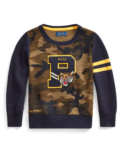 Camo Letterman-Style Sweater, Size 5-7