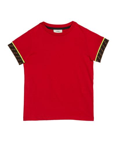 Boy's Short-Sleeve T-Shirt w/ Logo Taping, Size 4-8