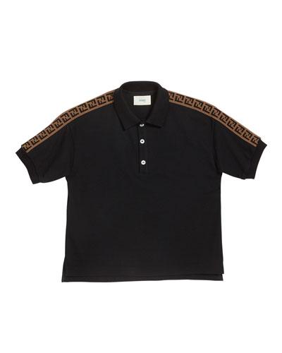 Boy's Logo Trim Polo Shirt, Size 10-14
