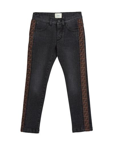 Boy's Denim Jeans w/ Logo Sides, Size 4-14