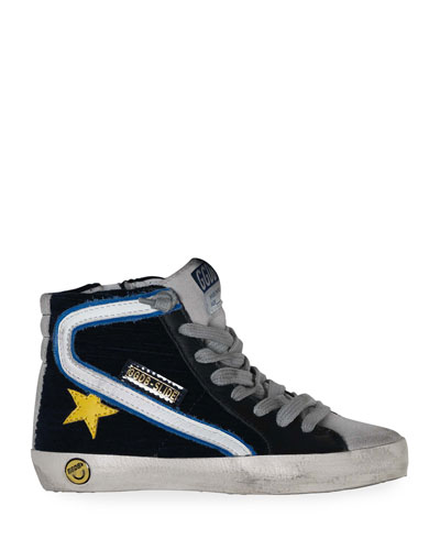 Boy's Slide High-Top Corduroy Sneakers, Baby/Toddler