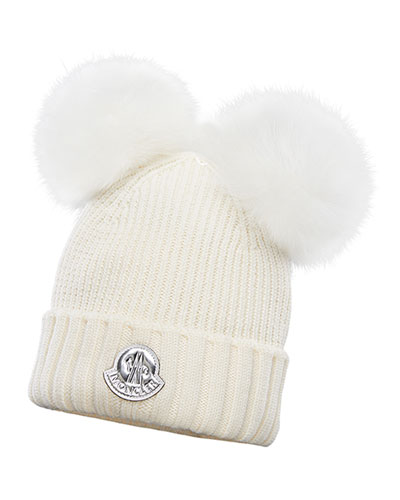 Kid's Virgin Wool Beanie Hat w/ Fur Pompoms