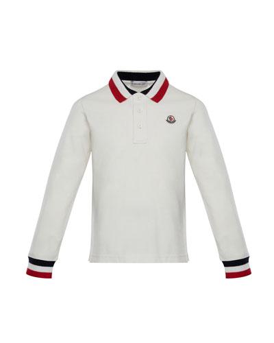 Long-Sleeve Polo Half-Button Shirt, Size 8-14