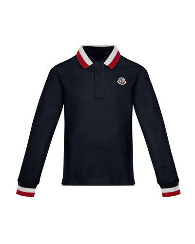 Long-Sleeve Polo Half-Button Shirt, Navy, Size 8-14