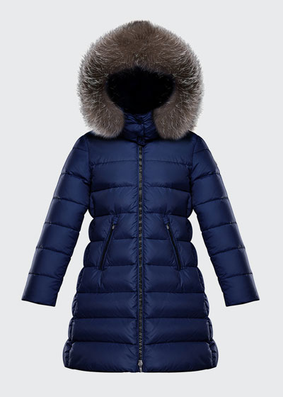 Abelle Long Quilted Puffer Coat w/ Fur Trim, Size 8-14
