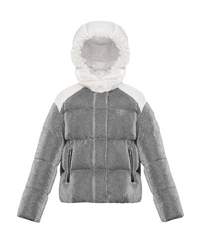 Chouette Sparkles Detachable-Hood Puffer Coat, Size 8-14