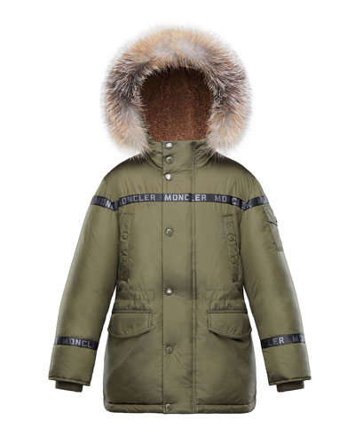 Boys' Hooded Coat w/ Fox Fur Trim, Size 4-6