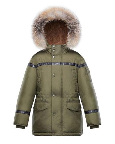 Boys' Naussac Hooded Coat w/ Fox Fur Trim, Size 8-14