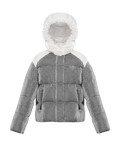 Chouette Sparkles Detachable-Hood Puffer Coat, Size 4-6