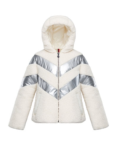 Cabourg Chevron-Striped Hooded Coat, Size 8-14