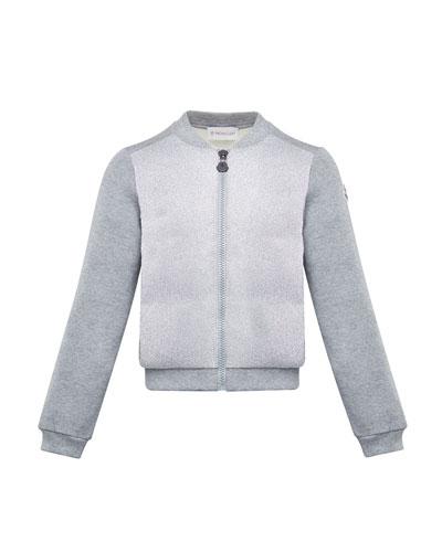Contrast-Front Zip Cardigan, Size 4-6