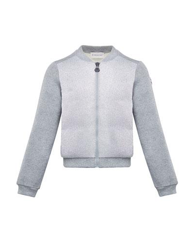 Contrast-Front Zip Cardigan, Size 8-14