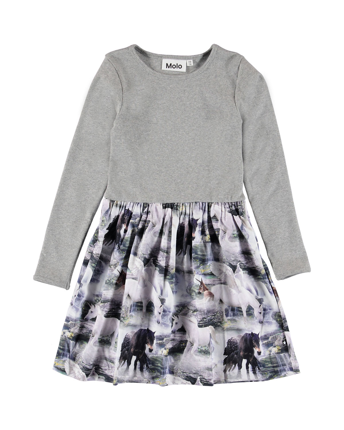 Molo GIRL'S CREDENCE LONG-SLEEVE RIBBED DRESS W/ HORSE PRINT SKIRT