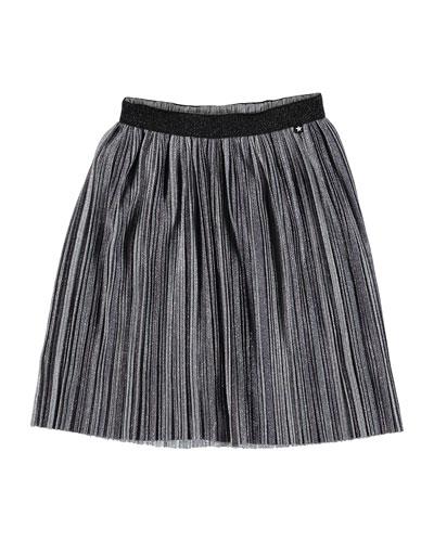 Girl's Bailini Pleated Lurex Skirt, Size 3T-16