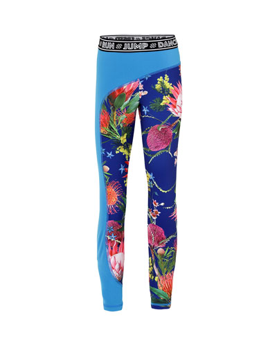 Girl's Olympia Floral Print Full Length Workout Leggings w/ Contrast Panel, Size 5-16
