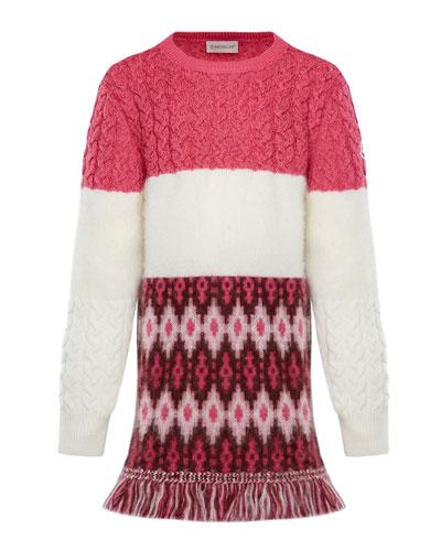 Virgin Wool Sweater Dress w/ Fringe, Size 4-6
