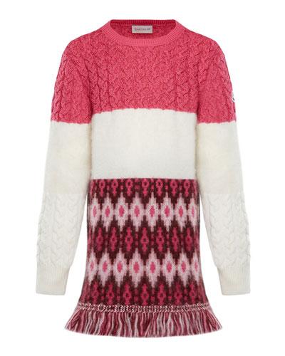 Virgin Wool Sweater Dress w/ Fringe, Size 8-14