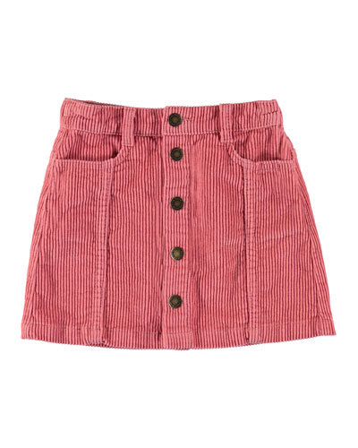 Girl's Bera Button Front Corduroy Skirt, Size 3T-16