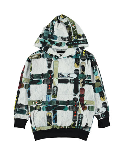 Boy's Romo Checked Snowboard Print Hooded Tee, Size 4-12